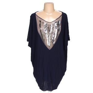 ASOS Navy Tunic with Silver Sequins & Beading